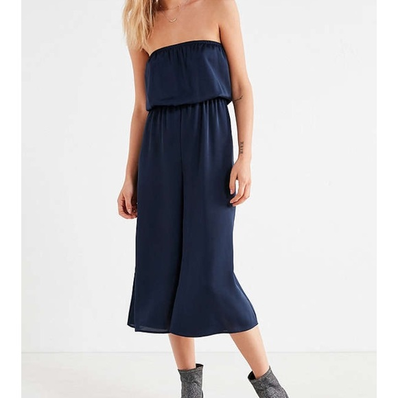49c0078c137 Urban Outfitters Satin Tube Top Culotte Jumpsuit