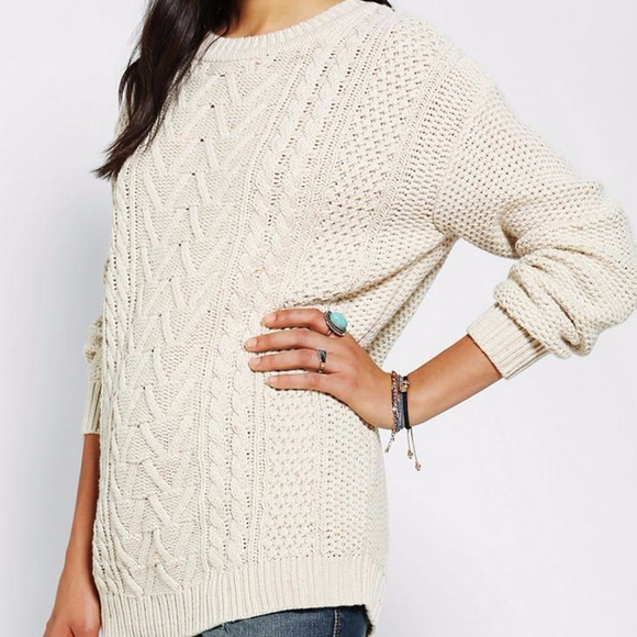 Bdg Sweaters Oversized Cream Cable Knit Sweater Poshmark