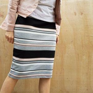 Roz&Ali multi-colored stripe pencil skirt