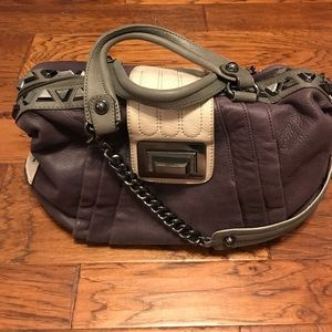 Guess by Marciano purple color blocking satchel