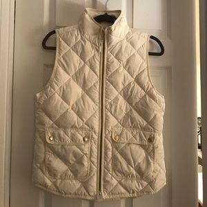 J Crew Ivory Puffer Vest - Size S - Never worn