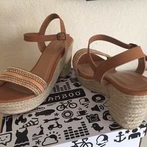NEW Bamboo Espadrille Platform Beads Sandals Sz 10