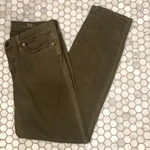 J. Crew Tall Sateen Toothpick Pant in Olive
