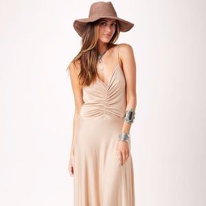 Planet Blue Blue Life Sun Beam backless Nude Maxi