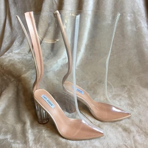 1bbb56945bf680 lola shoetique Shoes - Clear plastic Kim Kardashian calf heels boots