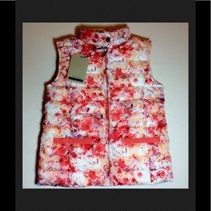 NWT Zara Girls Floral White Orange Puffer Vest 7-8