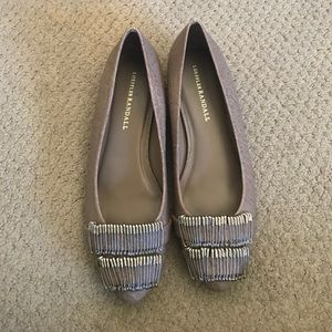 Loeffler Randall tan taupe safety pin flats