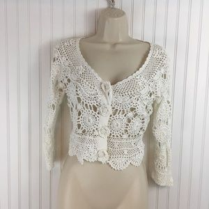 Betsey John white crochet sweater 3/4 sleeves