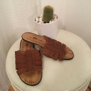 Tooled Tobacco Leather Slides