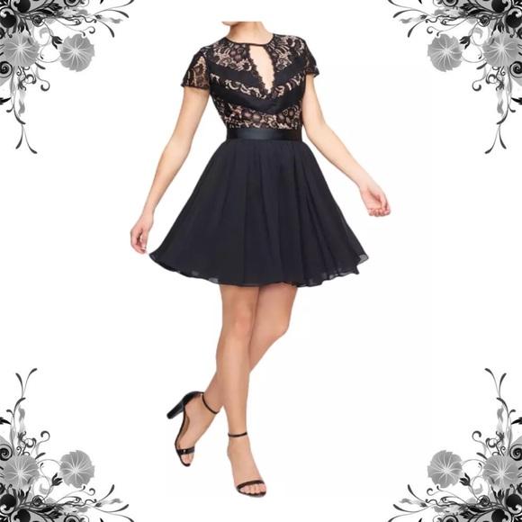 Fame & Partners Dresses & Skirts - {Fame & Partners} Black Lace Cap Sleeve Dress