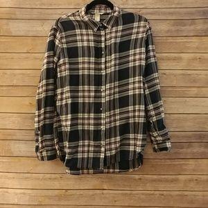 H&M pink & blue flannel button down shirt