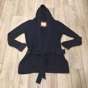 Sweaters - Navy Wool Hooded Tie Sweater
