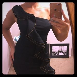 Sleek black one-shoulder cocktail dress