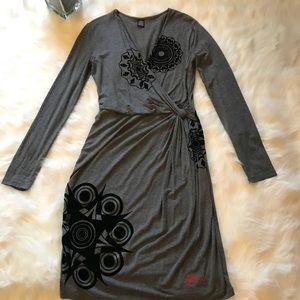 Desigual Grey Faux Wrap Jersey Dress