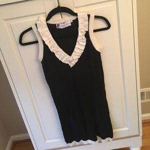 Sleeveless knit dress Navy Blue & White size S