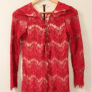 Romwe Red Lace Up Dress