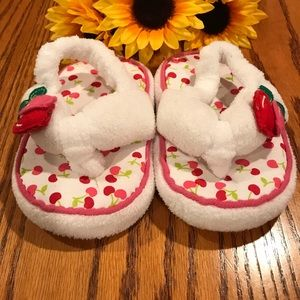 Children's Place cherry  slippers. Size 8-9T
