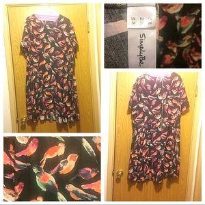 Simple Be watercolor bird print dress size 26