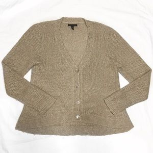 Eileen Fisher Taupe Fuzzy Knit Button Cardigan