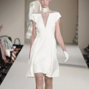 Temperley London White Crystal Stud Dress