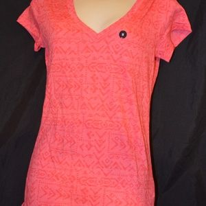 Womens Coral Pink Hollister V-Neck T-Shirt NEW!