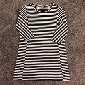 J Crew Black & White Striped Dress