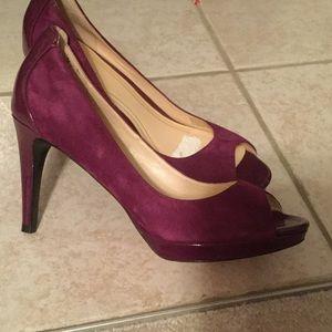 Purple suede Cole Hann heels