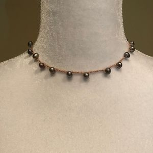 Gray Freshwater Pearl Station Necklace