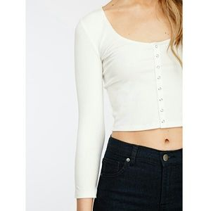 0fffc9992ade51 Forever 21 Tops | Ribbed Snap Button Henley Long Sleeve Crop Top ...