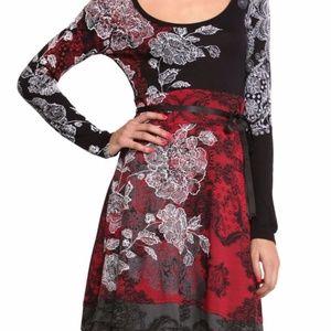Desigual Red black lace floral damask dress