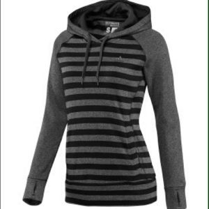 Adidas gray and black striped hoodie
