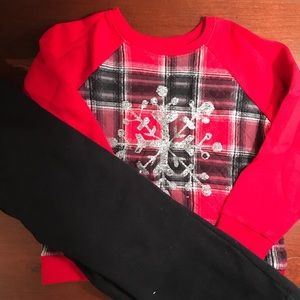 Sz 5 Red & black plaid with silver snowflake