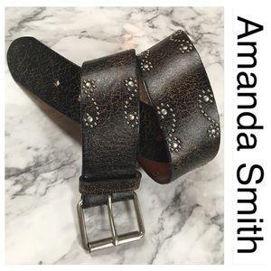 Amanda Smith Black Distressed Leather Studded Belt