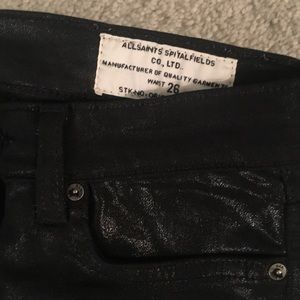 All Saints black coated skinny Jean