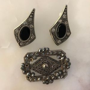 Markasite and silver toned Brooch and earrings