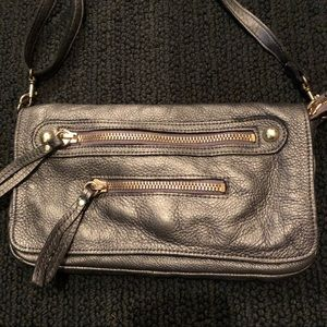 Linea Pelle Gray Leather Bag with Gold Hardware