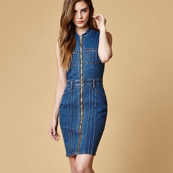 ce5e1b707f 🔥HP🔥NWT MinkPink Lone Ranger Zip Denim Dress