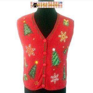 Vintage Trees & Snowflakes Sweater Vest