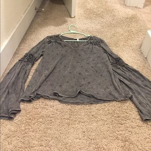 Anthropologie Eyelet Bell Sleeve Top Size Small