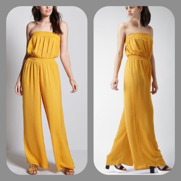 236ce8ffe8cc Forever 21 Pants - Forever 21 Wide Leg Strapless Yellow Jumpsuit