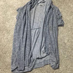 Grayish Blue Short Sleeve Cardigan