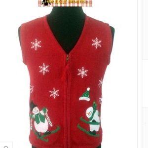 Red Skiing Snowman Zipper Vest