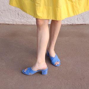 light blue suede boden short heels with crisscross