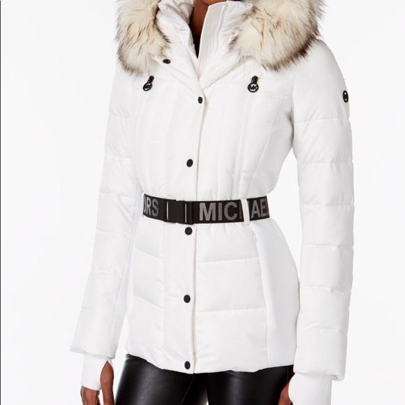 5057cecc02483 Michael Kors Active Faux Fur Trim Hooded Coat LRG