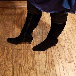 Black suede AJ Valenci heeled boots