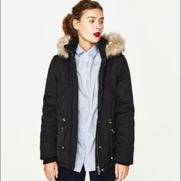 Zara cotton parka with furry hood