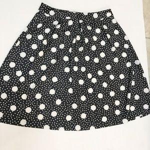 Eloquii Black & White Polka Dot Midi Skirt