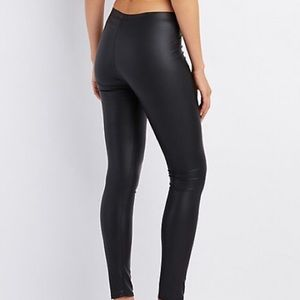 Black Glossy Faux Leather Leggings