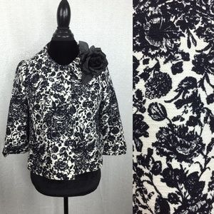 Retro Black & White Floral Print Cropped Coat