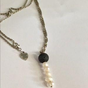 Pearl necklace lava stone diffuser pendant
